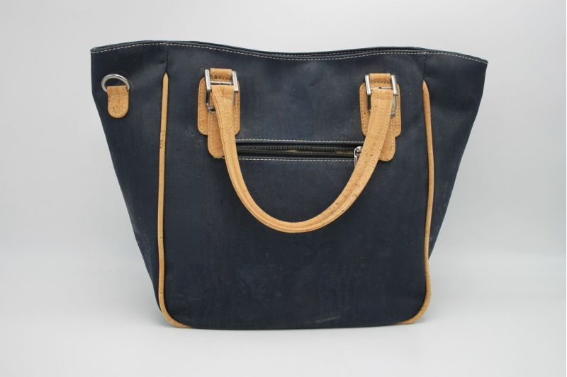 Grand sac à main en liège pour femme - Bleu foncé face
